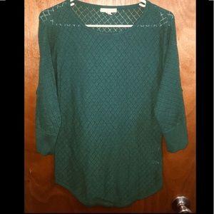 Green 3/4 sleeve sweater/ blouse